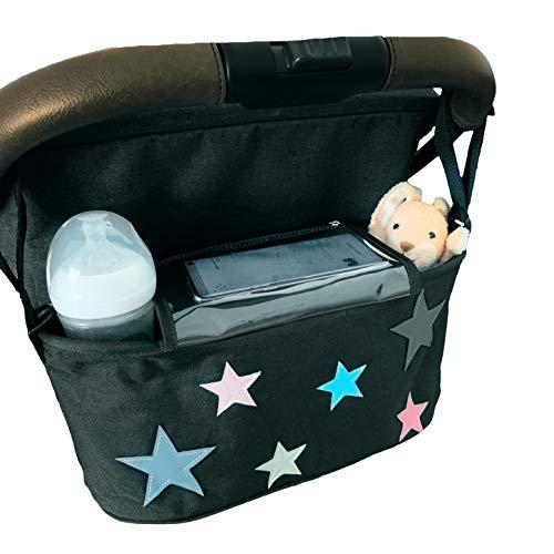 Kinderwagen Buggy Organizer Tochscreen Handytasche, Feuchttuchspender, Getränkefächer, Klettbänder, Schultergurt (black stars/schwarz)
