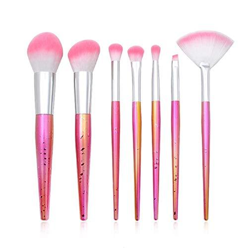 Drawihi Pinceaux Maquillages Premium Coloré Fondation Mélange Blush Yeux Visage Poudre Brosse Cosmétiques 7Pcs (rose)
