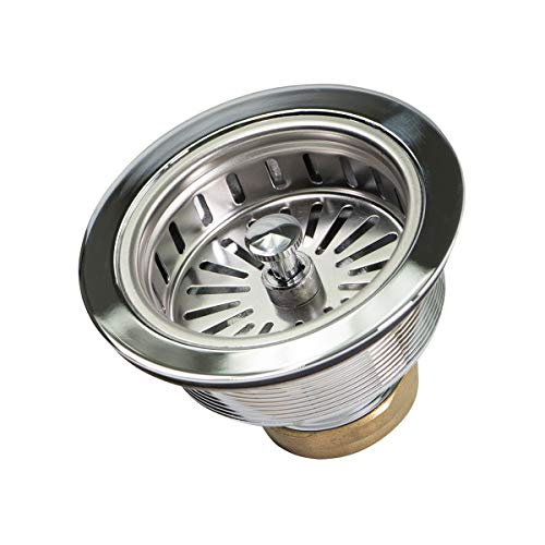 HIGHCRAFT 9735 Everflow 7513 Heavy Duty Kitchen Sink (3-1/2 Inch) Stainless Steel Drain Assembly With Strainer Basket KOHLER Style Stopper, 1.79
