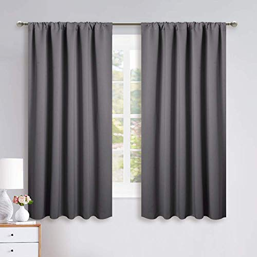 NICETOWN Blackout Curtain Panels for Window - Energy Efficient & Noise Reducing Thermal Insulated Rod Pocket Blackout Drapes/Draperies for Living Room (Grey, 2 Panels, W52 inches x L63 inches)