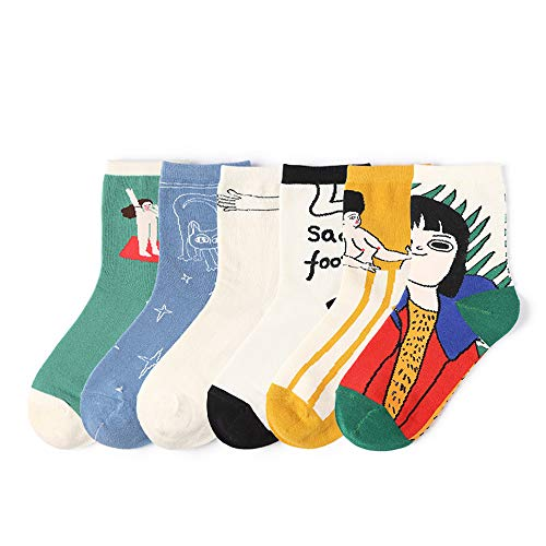 Moonsocks Cool Cotton Crew Socks Colorful Printed Fancy Design Unisex Casual Socks, S13- 6 Pairs