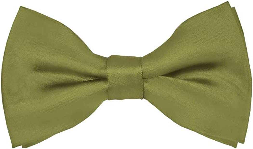 Solid Olive Green Men's Pre-Tied Bow Tie