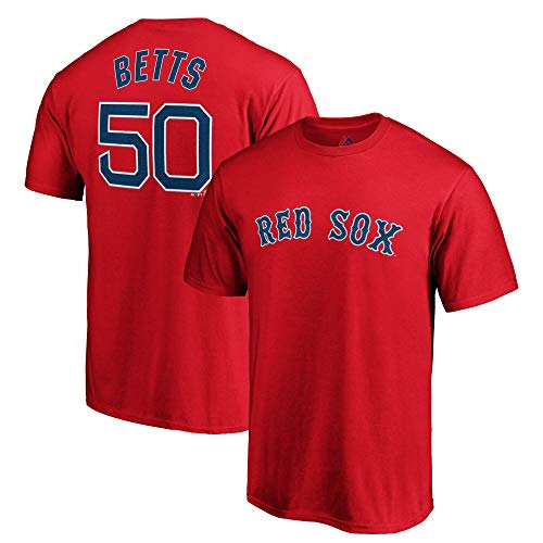 Outerstuff Mookie Betts Boston Red Sox #50 MLB Youth Player T-Shirt Red (Youth Large 14/16)
