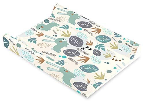 Baby Wickelauflage Wickelmulde Wickelunterlage 50 x 70 cm abwaschbar Wickeltischauflage Wickelaufsatz für Kinderbett Unisex (Hase)