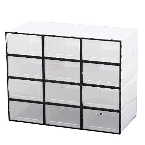 12er Set Schuhkarton mit Tür, Stapelbarer Schuhaufbewahrungsbox, Tragbar Schuh Organizer, Zusammenklappbar Schuhboxen für Frauen Männer (34x24x14CM)