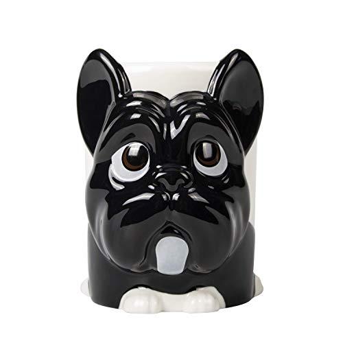 el & groove 3D Französische Bulldogge Tasse groß in schwarz, Tee-Tasse 350 m aus Porzellan, Kaffee-Tasse Hunde-Tasse, Dog Mug, French Bulldog, Hunde Deko Becher, Geschenk Weihnacht, Geschenk Hund Mann