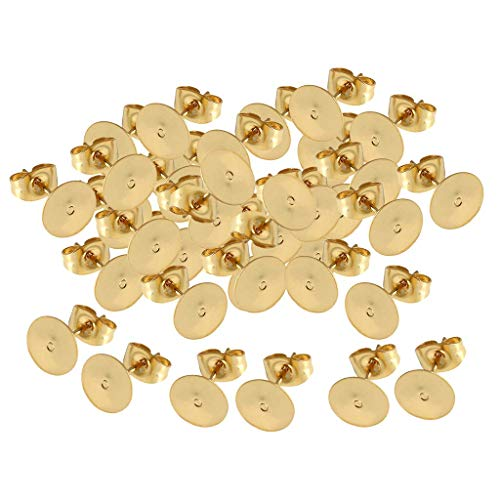 Golden Stud Earring with Ear Nuts Jewelry Findings for Earring Making,2mm Hole Stainless Steel Stud Earrings 0.7mm Pin Ball Ear Studs Components with Open Loop 25 Pairs UNICRAFTALE 50pcs
