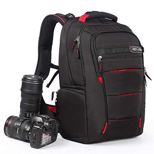 YZYZYZ Mochila de viaje profesional para cámara réflex digital, impermeable, bolsa para cámara con cerraduras antirrobo de alta capacidad, trípode versátil y mochila para cámara (borde verde) rojo
