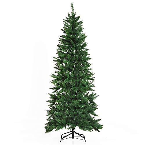 HOMCOM Árbol de Navidad Artificial Árbol con Soporte 210cm 865 Ramas Ecológico PVC Verde