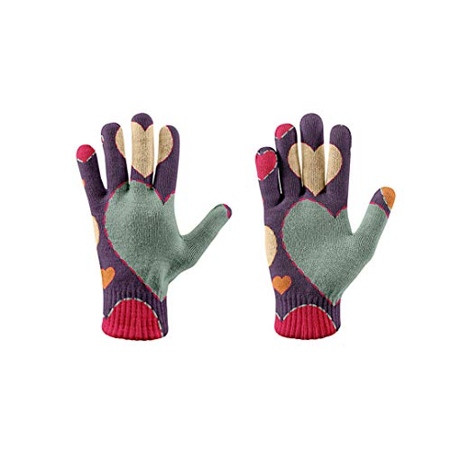 NHFVIRE Women's Winter Gloves Pink Heart 3D Printing Knitted Gloves Unisex Autumn Outdoor Leisure Stretch Gloves style5
