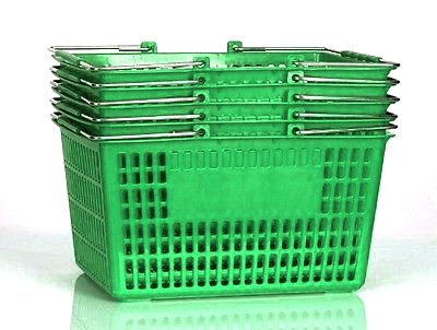 Shopping Basket (Set of 5) Durable Green Plastic with Metal Handles