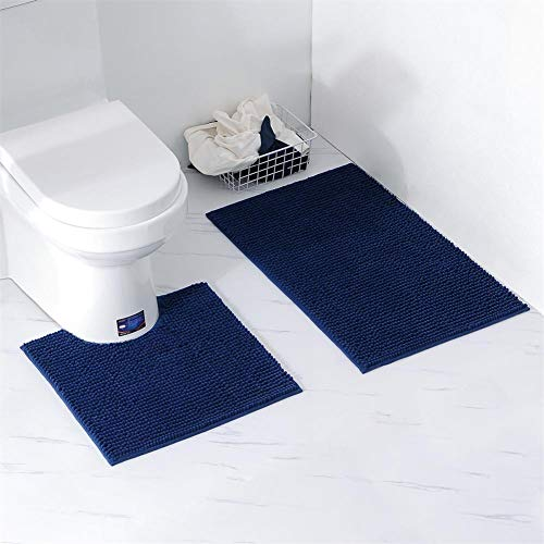Homcomodar Set 2 Stück Badematten Chenille Waschbare Badteppich Badvorleger für Badezimmer (Dunkelblau)