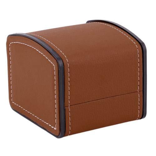 XXSW Caja de exhibición de lujo vintage de piel sintética para joyas, caja protectora con forma de arco para reloj, organizador con cojín de almohada de lujo (color marrón