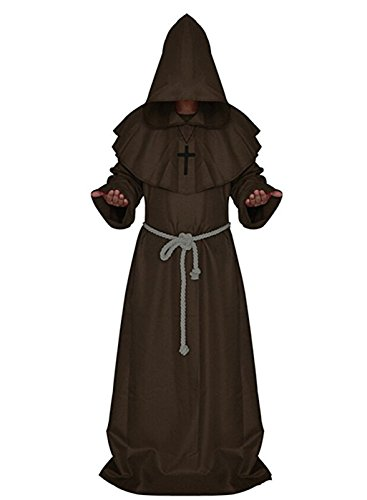 FuliMall - Monjes Medievales Que sirven Halloween Carnaval Disfraces Sorcerer Costumes Sacerdotes Servicio Christian Church Padre Cosplay, Multicolor
