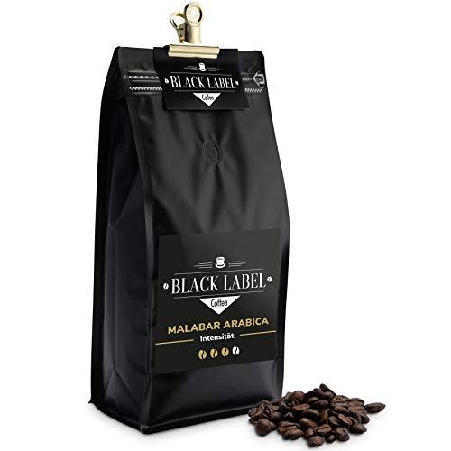 Black Label Coffee Kaffeebohnen 1kg säurearm Malabar Arabica 100% | Kaffeebohnen Vollautomat mild Espresso ganze Bohnen | Cafe Crema frisch geröstet