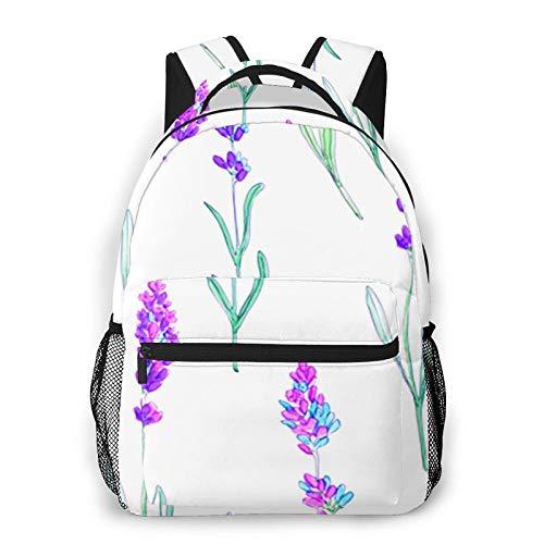 USGYY Rucksack Männer und Damen Lavendel Blumenstrauß, Laptop Rucksäcke, Kinderrucksack Schulrucksack Daypack für Jungen Mädchen