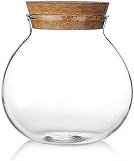 AWAING Bocaux Verre clair avec couvercle en bois Airtight Récipient sous pression, Pot de rangement for les bonbons thé Co...