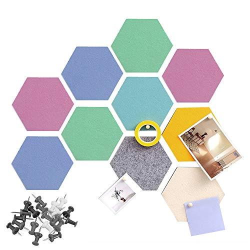 10 azulejos de fieltro hexagonales autoadhesivos, azulejos de corcho hexagonales de fieltro para el hogar y la oficina, pegatinas de pared de fieltro para decoración del hogar y la oficina (colorido)