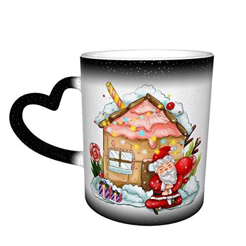Taza mágica de café en forma de corazón con cambio de color de Papá Noel