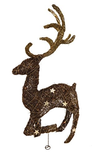 Christmas Concepts 36' Battery Operated Standing Rattan Reindeer with Star Decoration and Warm White LED Lights - Christmas Decorations