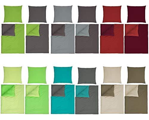 optidream Baumwolle Renforcè Bettwäsche Uni Wende in 2 Größen und 9 Modernen Farbenkombinationen 2tlg. Set 135x200 + 80x80 cm Anthrazit Grün