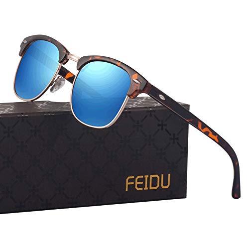 FEIDU Retro Polarized Mens Sunglasses for Men Half Metal Women FD3030 (blue-leopard, 2.04)