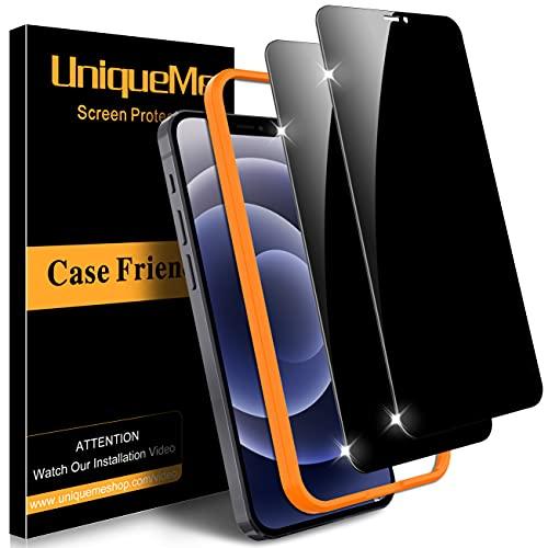 [2 Pack] UniqueMe Privacy Vetro Temperato compatibile con iPhone 12 Pro iPhone 12 6.1 Pollici Pellicola Protettiva ,[9H Hardness] [Bubble Free] Anti-Scratch [Precise cutout]