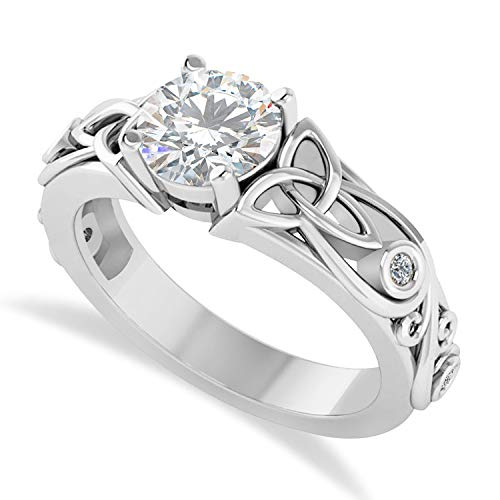 (1.06ct) diamond accented bezel preset moissanite celtic engagement ring 14k white gold