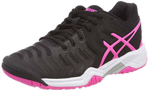 Asics Gel-Resolution 7 GS, Zapatillas de Tenis Unisex Niños, Negro (Black/Hot Pink/Silver 9020), 35.5 EU
