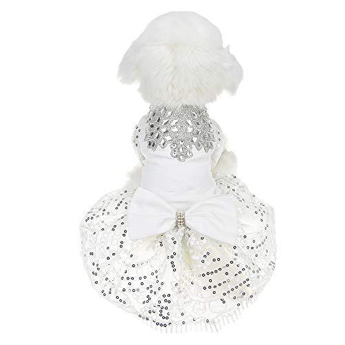 FLAdorepet Sprankelende Strass Hond Bruiloft Feestjurk Tutu Rok Kant Jurk Bruid Kostuum Voor Kleine Hond Huisdier Kleding, M, Kleur: wit