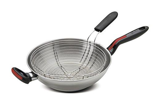 Lagostina Linea Rossa Wok per induzione con cestello per frittura, Acciaio Inox 18/10, Argento, 28 cm