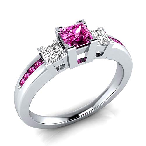 925 Sterling Silver Fashion Natural Ruby Sapphire Ring Square Perfect Cut 3-Stone Rainbow Cubic Zirconia Rings CZ Eternity Engagement Wedding Band Ring for Women (Red, US Code 7)