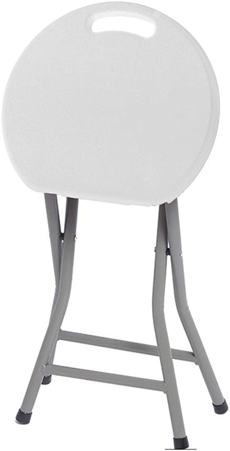 Xueshengshangmaoo Home Office Folding Chair Stool, Fashion Creative Portable Outdoor Leisure Chair Thick Plastic Dining Table Bench Bar Stool Indoor Outdoor (color   White, Size   33  70cm)