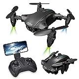 Drone con cámara 4K HD Video en Vivo para Principiantes, Quadcopter Plegable con Video en Vivo FPV Gran Angular, trayectoria de Vuelo, Control de Aplicaciones, retención de altitud
