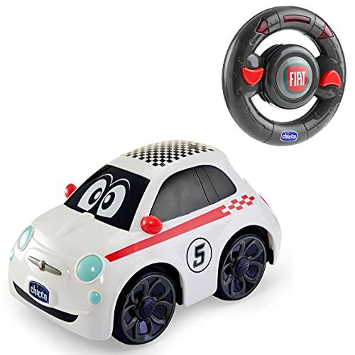 Chicco Fiat 500 Sport , Coche Teledirigido con Control Remoto Intuitivo en Forma de Volante, Luces y Sonidos, apto para niños y niñas de 2 a 6 años, Blanco