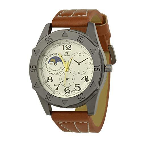 Transer Trend Personality Comfort Durable Watch Cinturino in Pelle al Quarzo Fashion Casual Watch, per SHIKAI ZYBSK-17 (Orange)