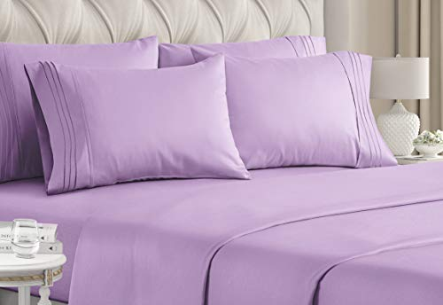 Queen Size Sheet Set - 6 Piece Set - Hotel Luxury Bed Sheets - Extra Soft - Deep Pockets - Easy Fit - Breathable & Cooling Sheets - Wrinkle Free - Comfy - Lavender Sheets - Queens Sheets - 6 PC