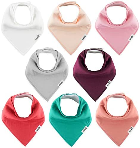 Meerdif Baby Bandana Drool Bibs for Baby Girls Plain Colors 8 Pack Baby Shower Set for Teething product image