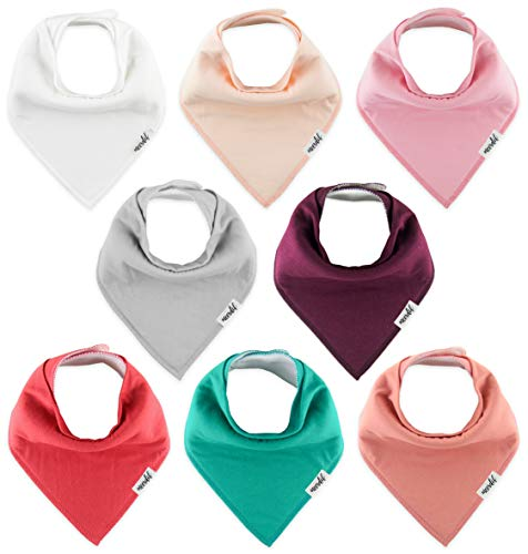 Meerdif Baby Bandana Drool Bibs for Baby Girls, 8 Pack Solid Colors Set for Teething and Drooling