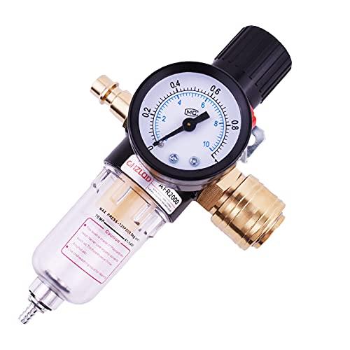 Steck-Druckminderer Druckluft 1/4 Zoll mit Wasserabscheider inkl. Wartungseinheit Druckluft mit Schnellkupplungen