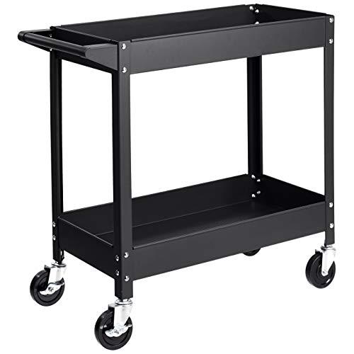 Amazon Basics – Multifunktionaler Materialwagen mit Stahlwanne, 2 Regalböden, mit 181 kg Traglast, schwarz