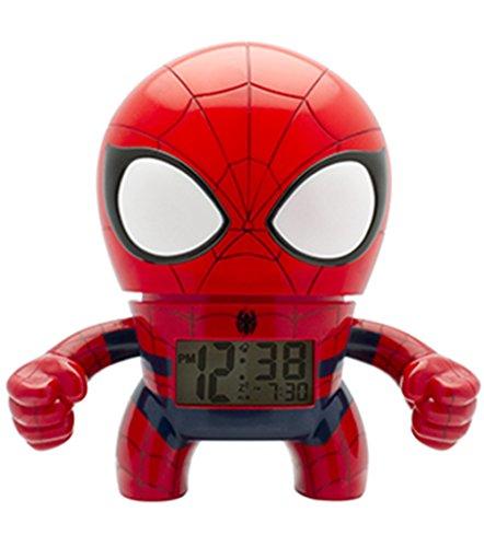 BulbBotz 2020039Spider Man - Reloj despertador digital de cuarzo (7,5 pulgadas, con iluminación de cuarzo)