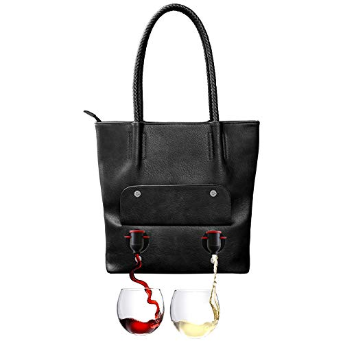 PortoVino Tuscany Double Pour Vegan Leather Tote (Black) - Fashionable Purse With Hidden, Insulated Compartment, Holds 2 separate Bottles Of Wine! / Great Gift! / Happiness Guaranteed!