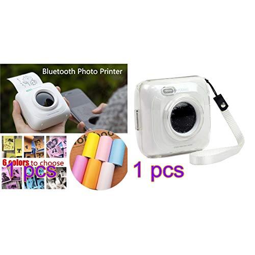 Paperang P1 Mini-fotoprinter, draadloos, compatibel met iPhone, Android, draagbaar, iPad, Mac, Mallalah draagbaar, bluetooth-printer, met beschermhoes Wit.