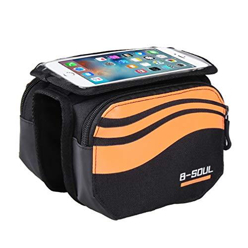 YUYAXBG Bike Frame Bag Met Touchscreen Bike Pouch Cycle Top Tube Bag Dubbele Pouch Ondersteuning Voor Smartphones Met Een Scherm Grootte Van 4,8 Inch