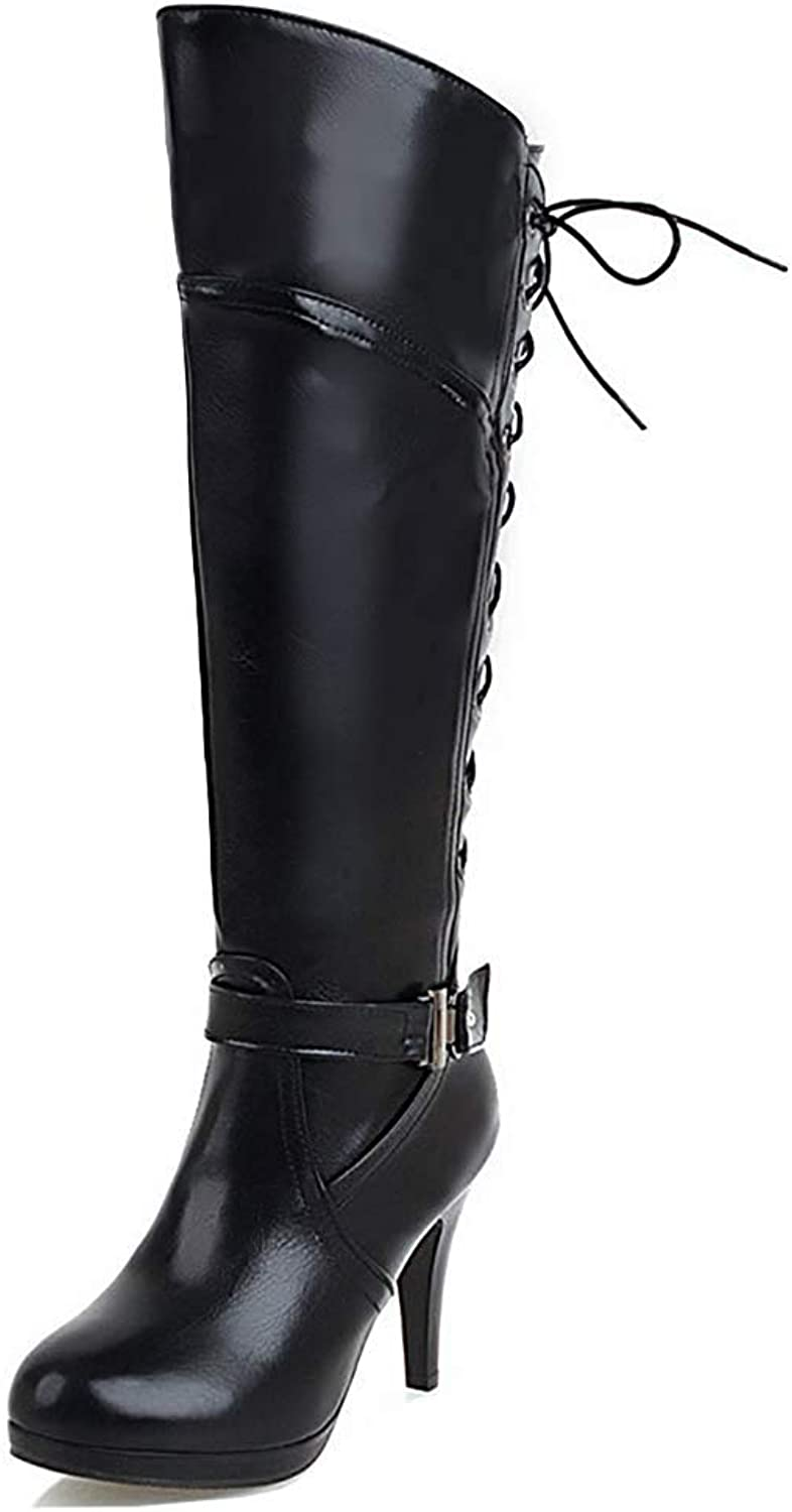 Unm Women's Strap Round Toe Tall Boots Dressy Inside Zip Lace Up Stiletto High Heel Platform Knee High Boots with Zipper