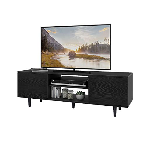 WLIVE MidCentury TV Stand for TVs up to 55quot Modern Entertainment Center Media Storage Console Table with Cabinet and Shelves for Living Room