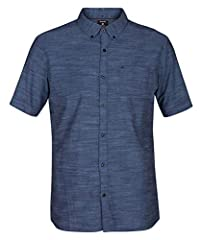 Classic fit short sleeve button up Textured fabric Icon heat transfer at left chest pocket