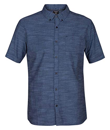 Hurley Men's One and Only Textured Short Sleeve Button Up, obsidian, XL