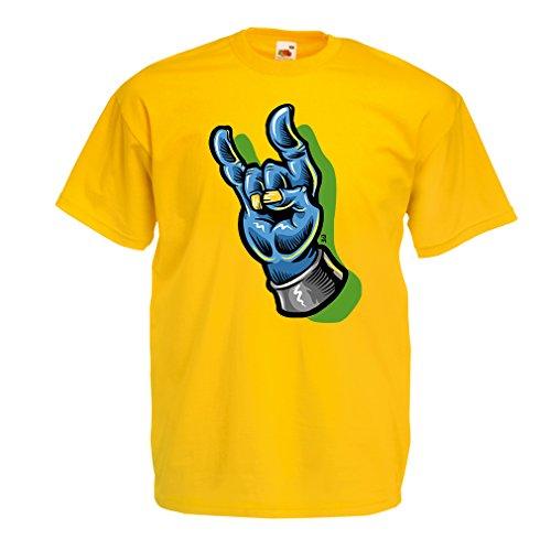 Camisetas Hombre Zombie Mano A Rock and Roll símbolo, Signo de los Cuernos, Signo de Metal (Large Amarillo Multicolor)